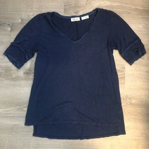 Anthropologie Navy Blue Lace Elbow Tee